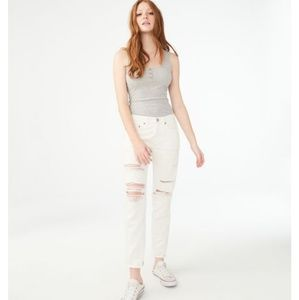 Cream white boyfriend jeans
